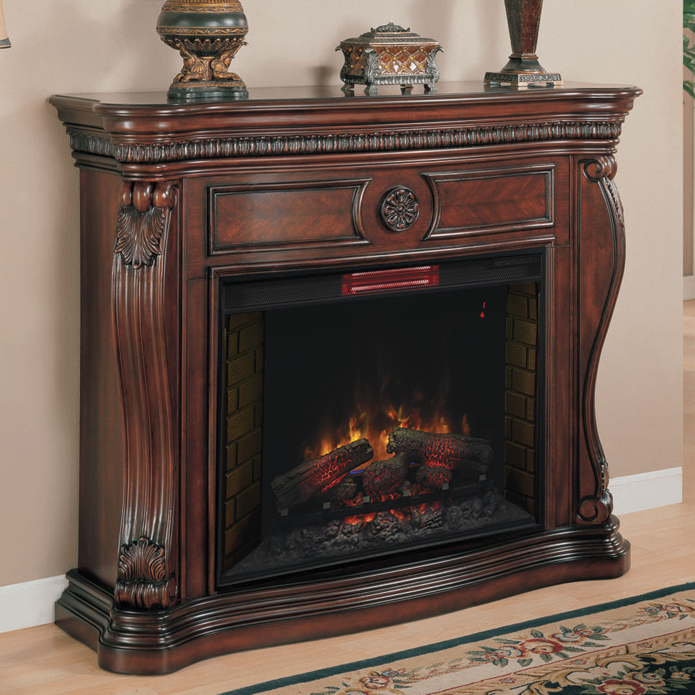 Classic flame belmont 60 quot tv stand with electric fireplace - Lexington Infrared Electric Fireplace Mantel In Empire Cherry 33wm881 C232