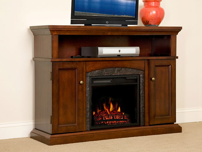 Lynwood 18 Vintage Cherry Media Console Electric Fireplace Cabinet Mantel Package 18mm4105 C233