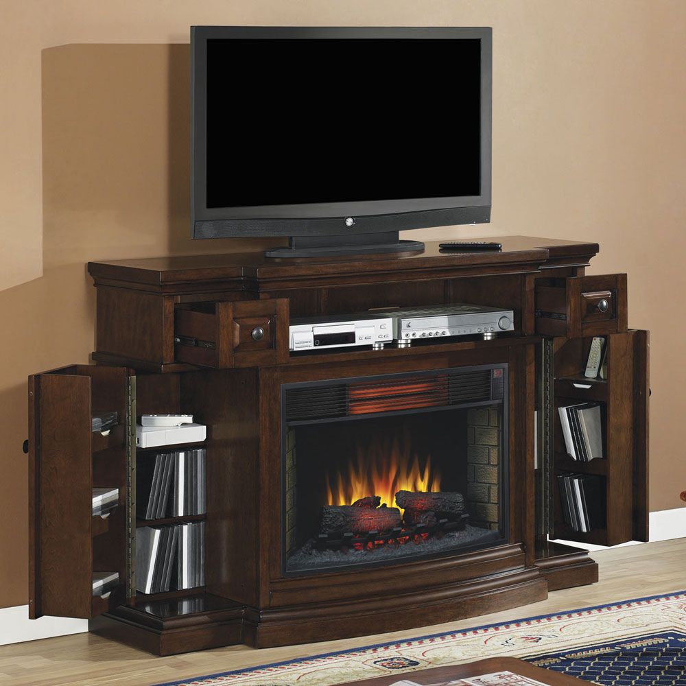 memphis infrared electric fireplace media console