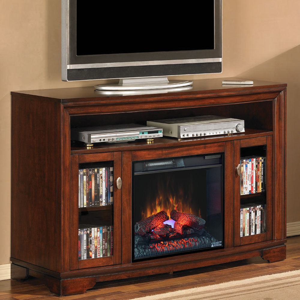 "Fireplace Cabinets: Palisades 23"" Empire Cherry Media Console Electric"