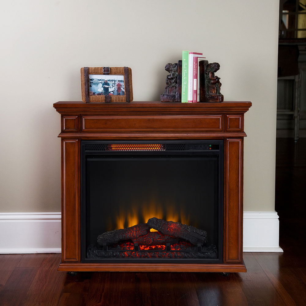 Perri Infrared Electric Fireplace Heater In Mahogany Cs 23irm Mah