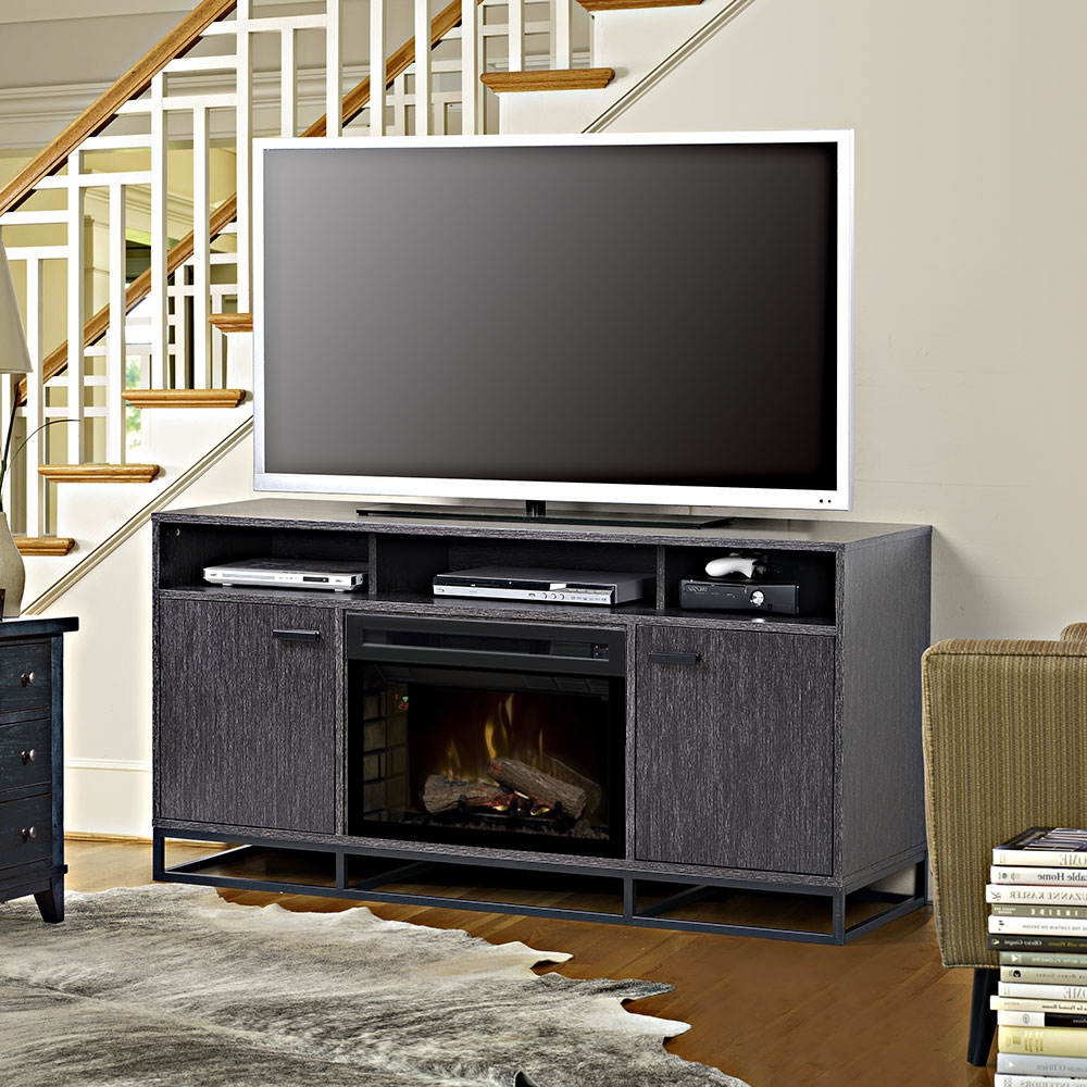 Reily Electric Fireplace Tv Stand In Grey Cerused