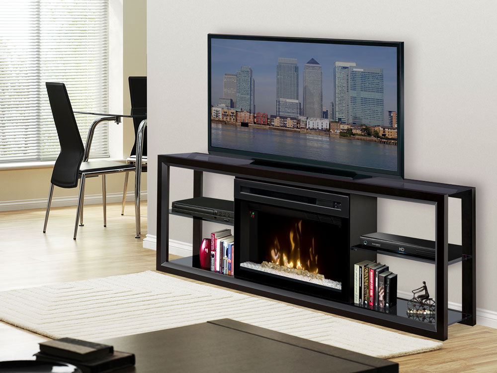 Novara Electric Fireplace Media Console w/ Acrylic Ice in Black - SHGFP-300-B