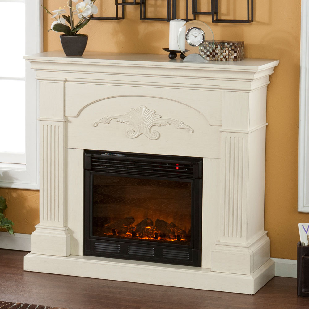 Cabinet Mantel: Holly & Martin Salerno Ivory Electric Fireplace 37-213-023