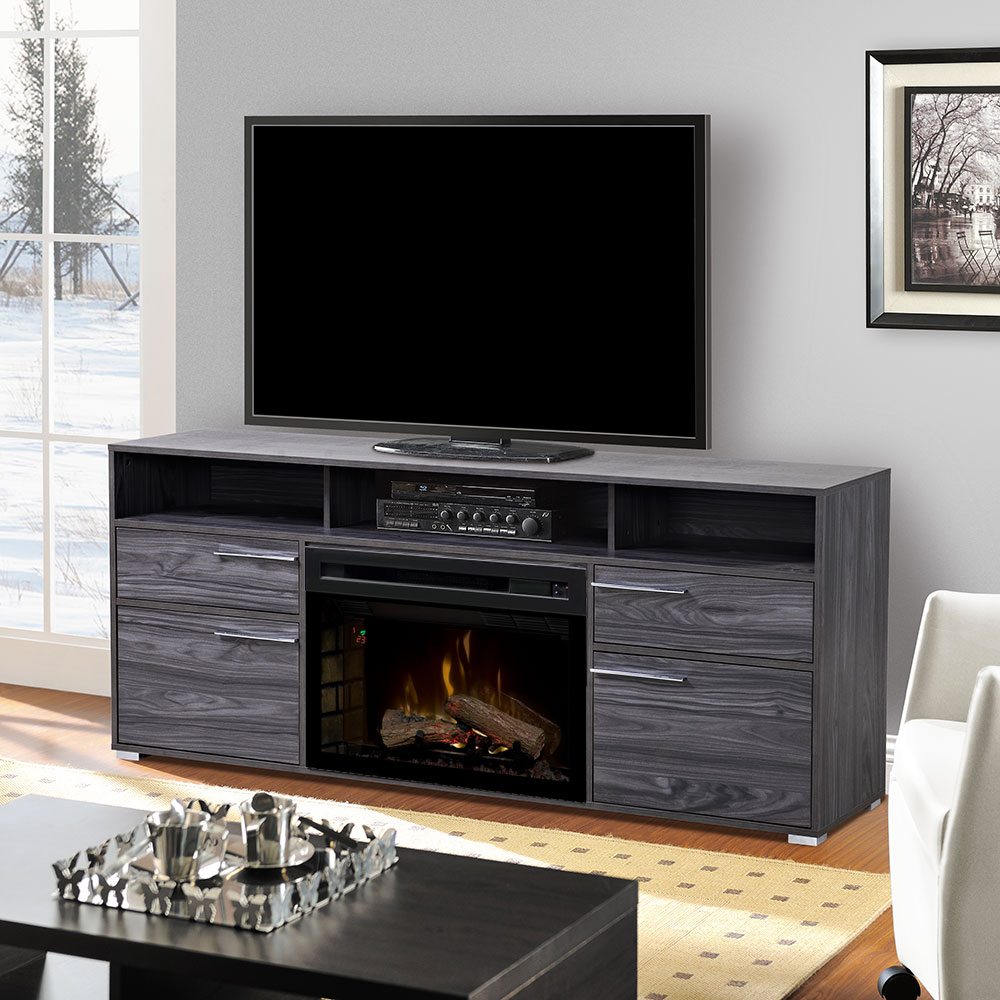 Sander Media Cabinet Carbonized Walnut Amp 25 Quot Firebox