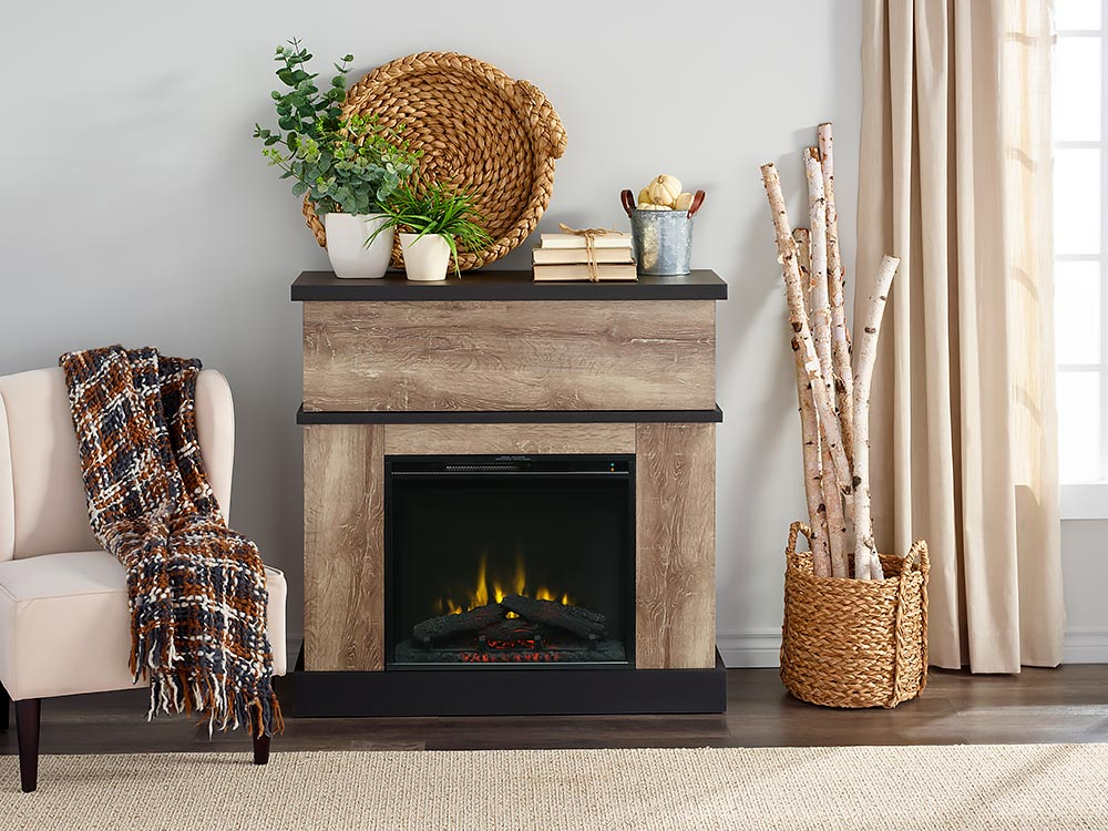 Sarah Electric Fireplace Mantel Package, Oak Electric Fireplaces