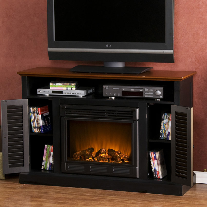 Antebellum Electric Fireplace Media Cabinet In Black Walnut Fe9305