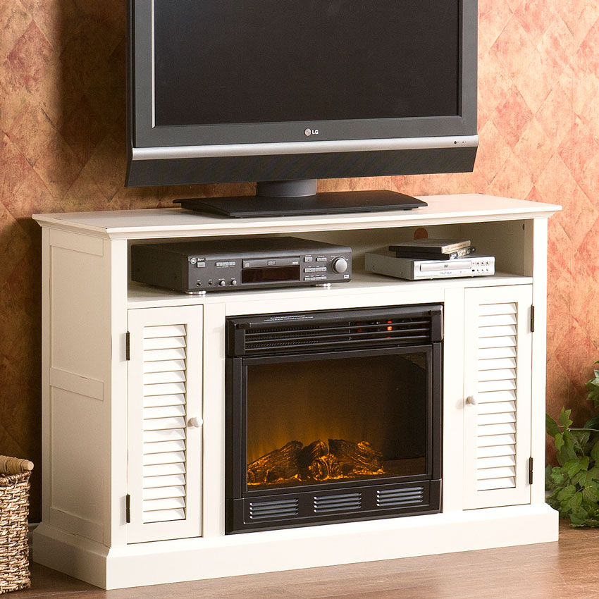 Antebellum Electric Fireplace Media Cabinet In Antique White Fe9306