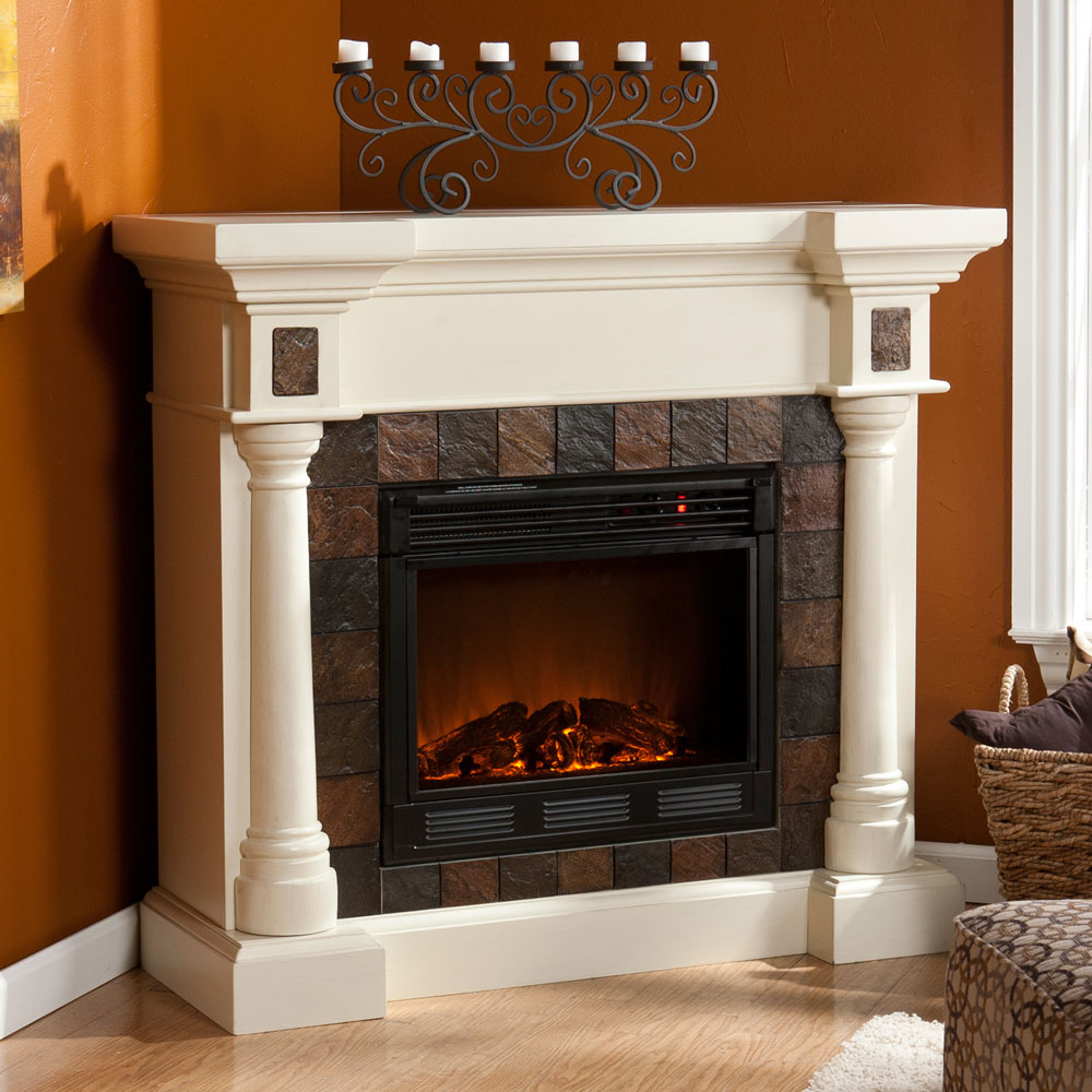 Weatherford Convertible Ivory Electric Fireplace 37 251 023 0 18