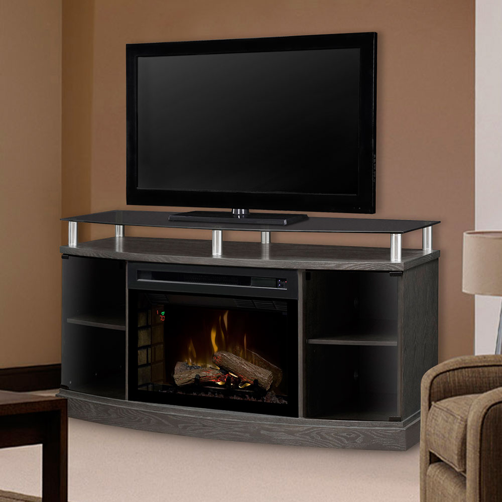 windham silver charcoal electric fireplace media console