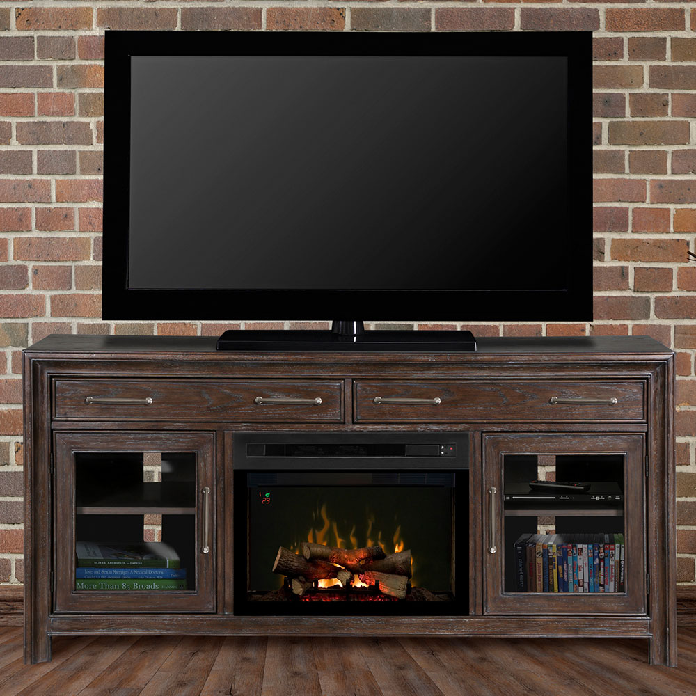 Woolbrook Distressed Nutmeg Electric Fireplace Media Console W Logs Gds25ld 1415wbn
