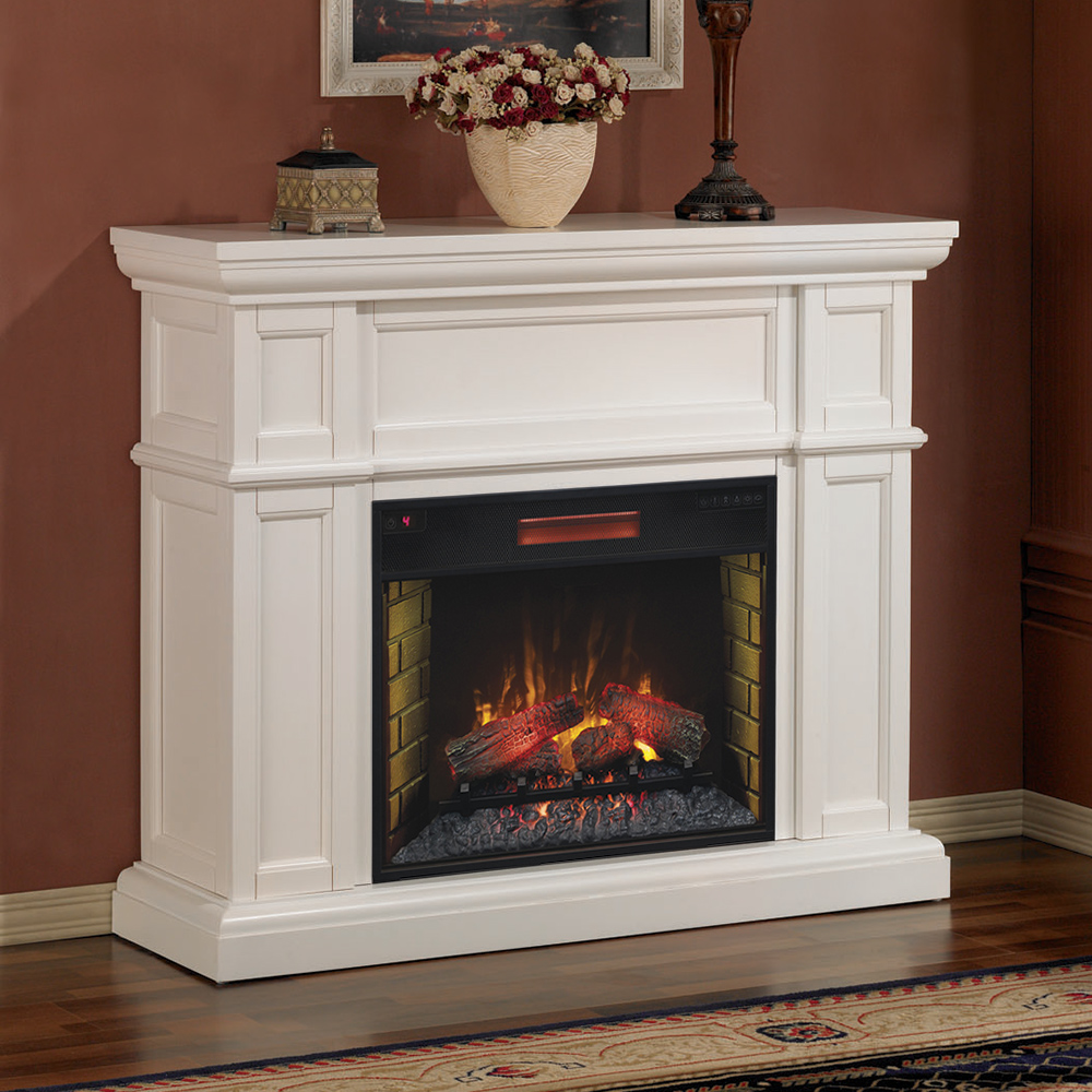 artesian white infrared electric fireplace mantel