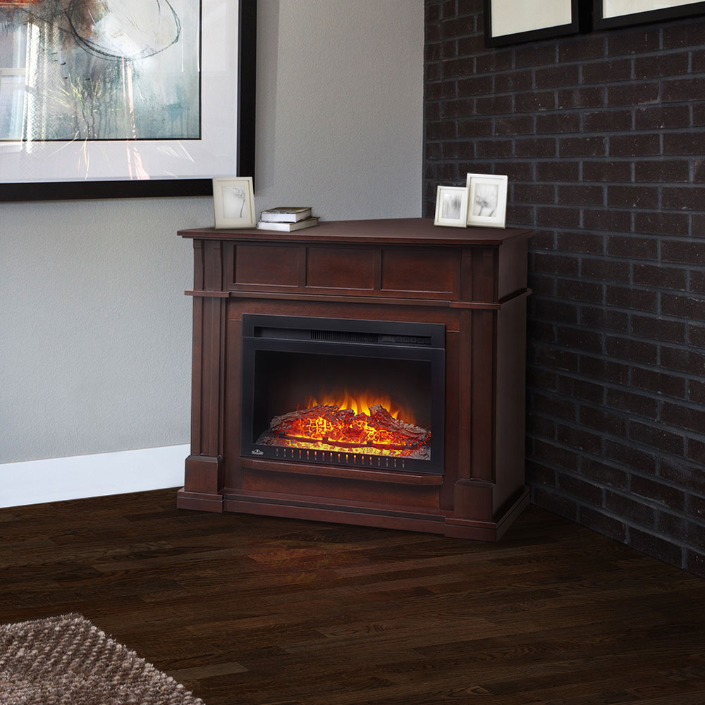 Bailey Wall Corner Electric Fireplace Mantel Package In