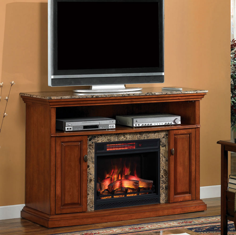 brighton infrared electric fireplace media console in