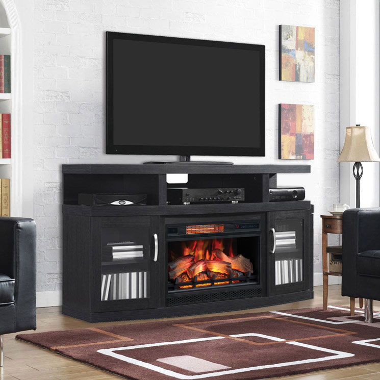 cantilever infrared electric fireplace media cabinet in