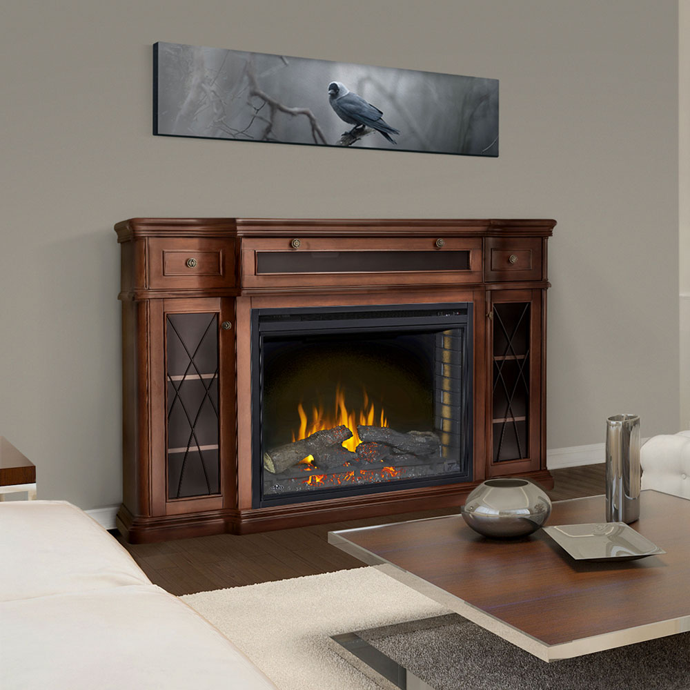 Colbert Electric Fireplace Media Console In Antique