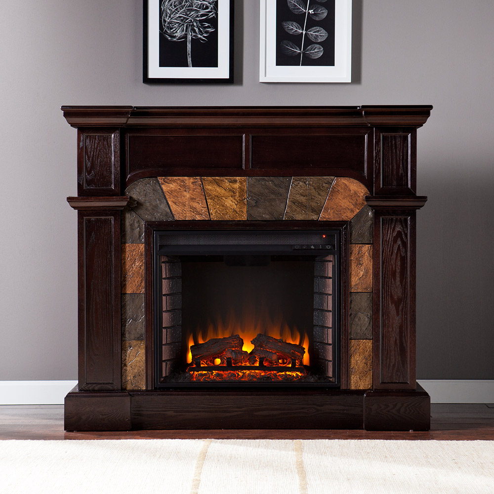 Cartwright Espresso Convertible Electric Fireplace Mantel
