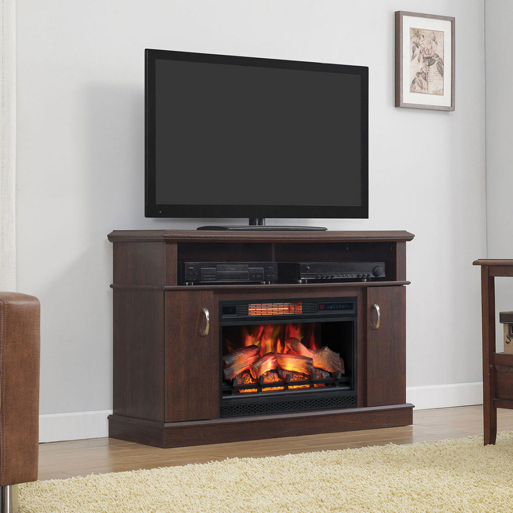 Dwell Infrared Electric Fireplace Entertainment Center In Midnight Cherry 26mm5516 Pc72