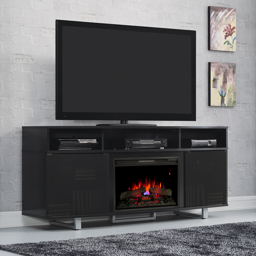 Enterprise lite electric fireplace entertainment center in black 26mm9665 nb157 - Contemporary electric fireplaces entertainment center ...
