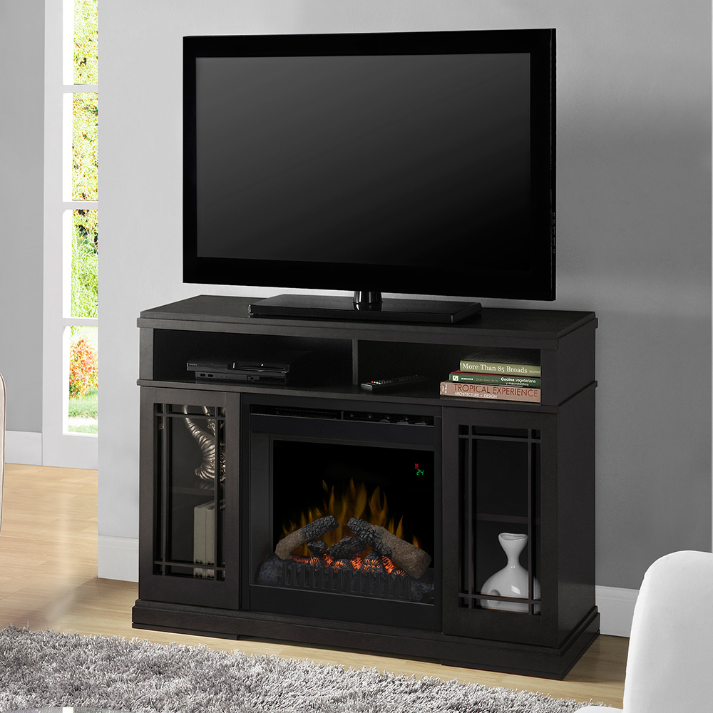 Farley Black Electric Fireplace Media Console W Logs