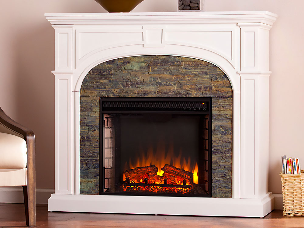Tanaya Electric Fireplace Mantel Package In White Fe9624