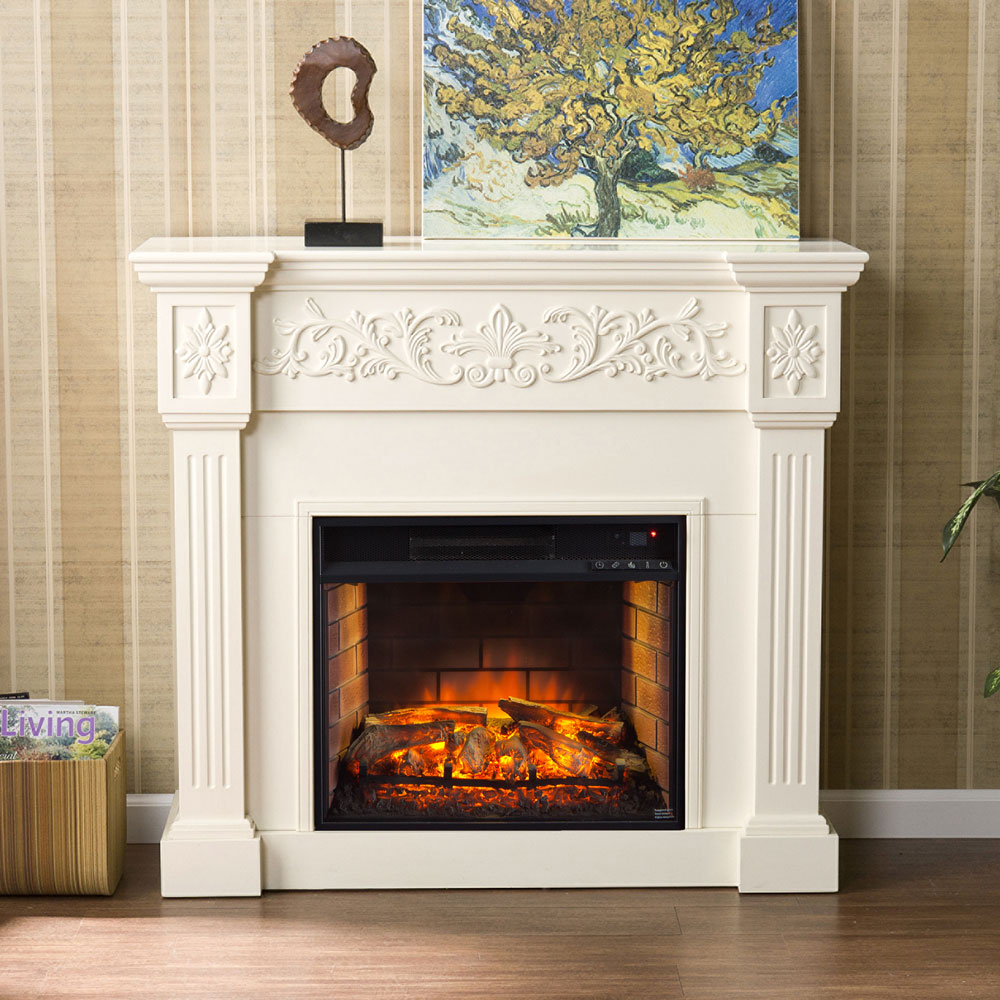 Calvert Ivory Infrared Electric Fireplace Mantel Package ...