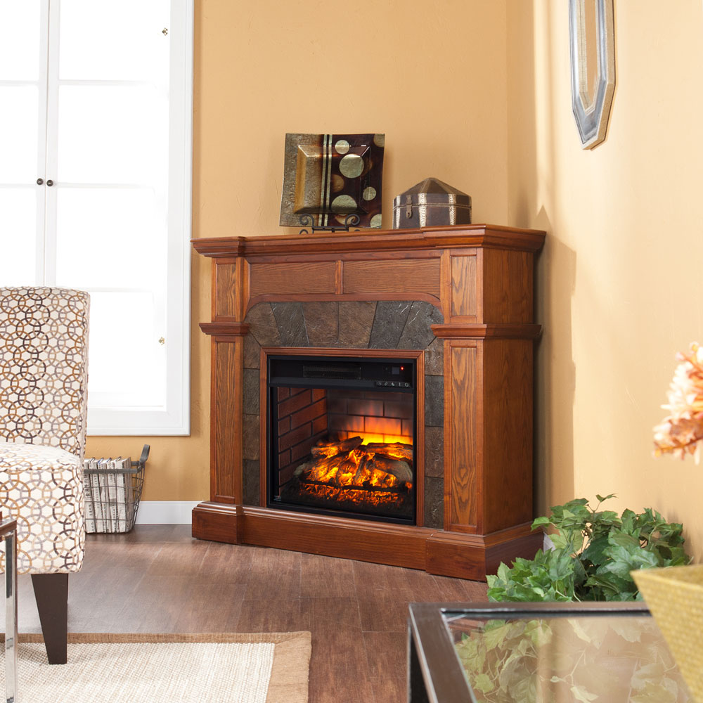 Cartwright Infrared Electric Fireplace In Mission Oak FI9285
