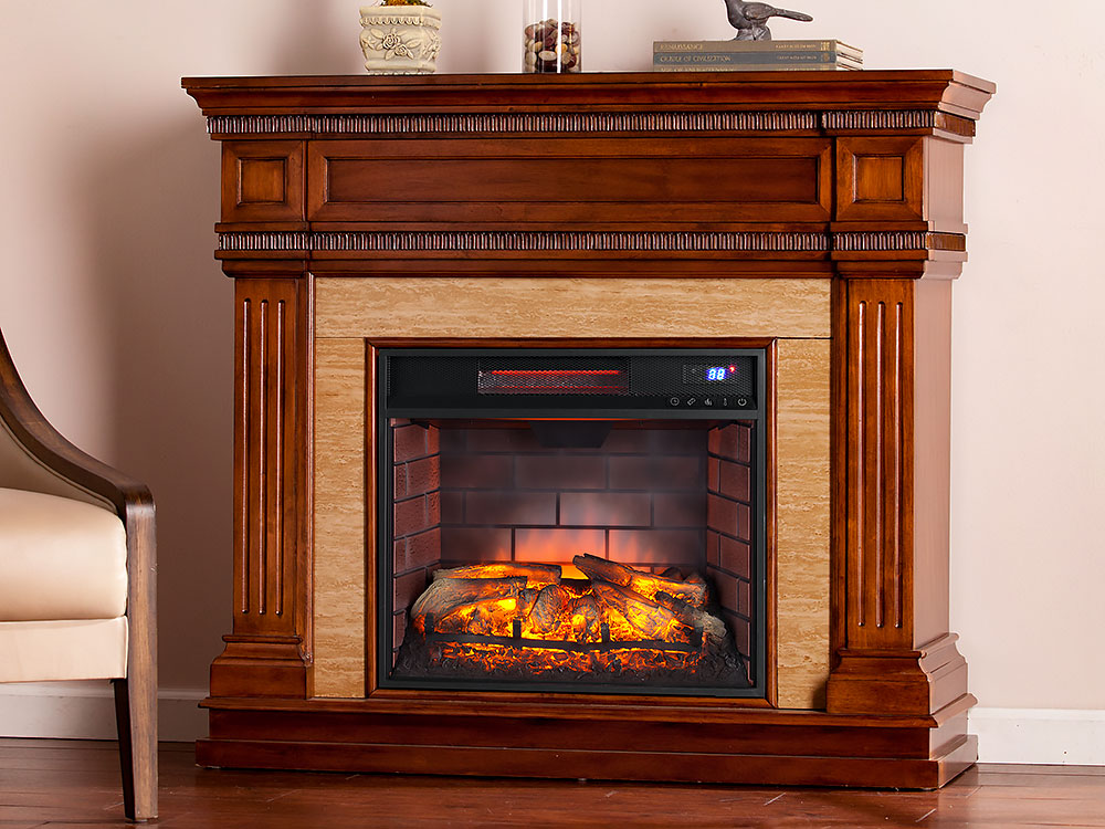 Faircrest Infrared Electric Fireplace Mantel Package In Oak Saddle Fi9617