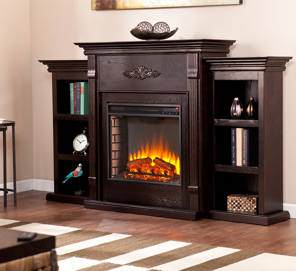 Tennyson Espresso Electric Fireplace Package W Bookcase Fe8545 Southern Enterprises