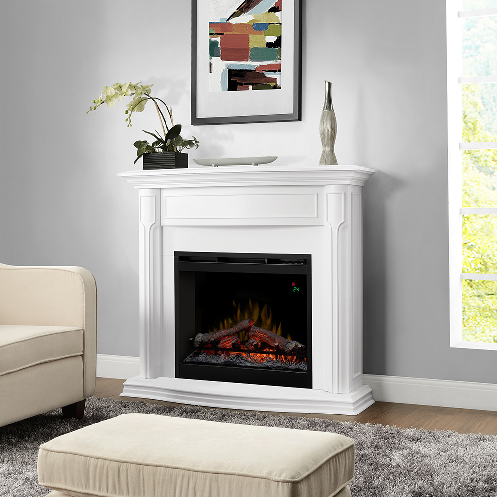 Gwendolyn White Electric Fireplace Mantel Package Dfp26l