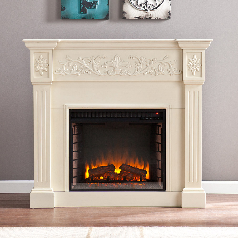 Calvert ivory electric fireplace mantel package fe9279 for Dimplex radiatori elettrici