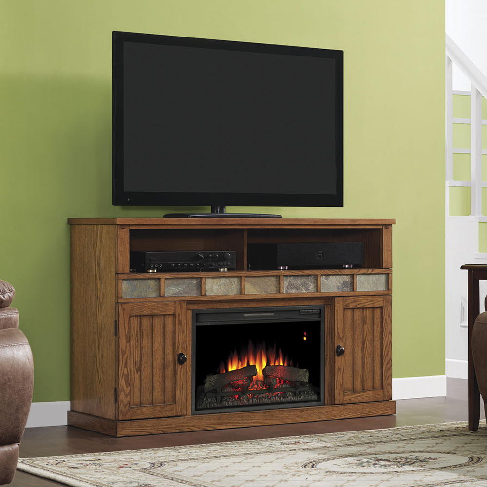 Fireplace Cabinets: Margate Electric Fireplace Media Cabinet In Premium Oak