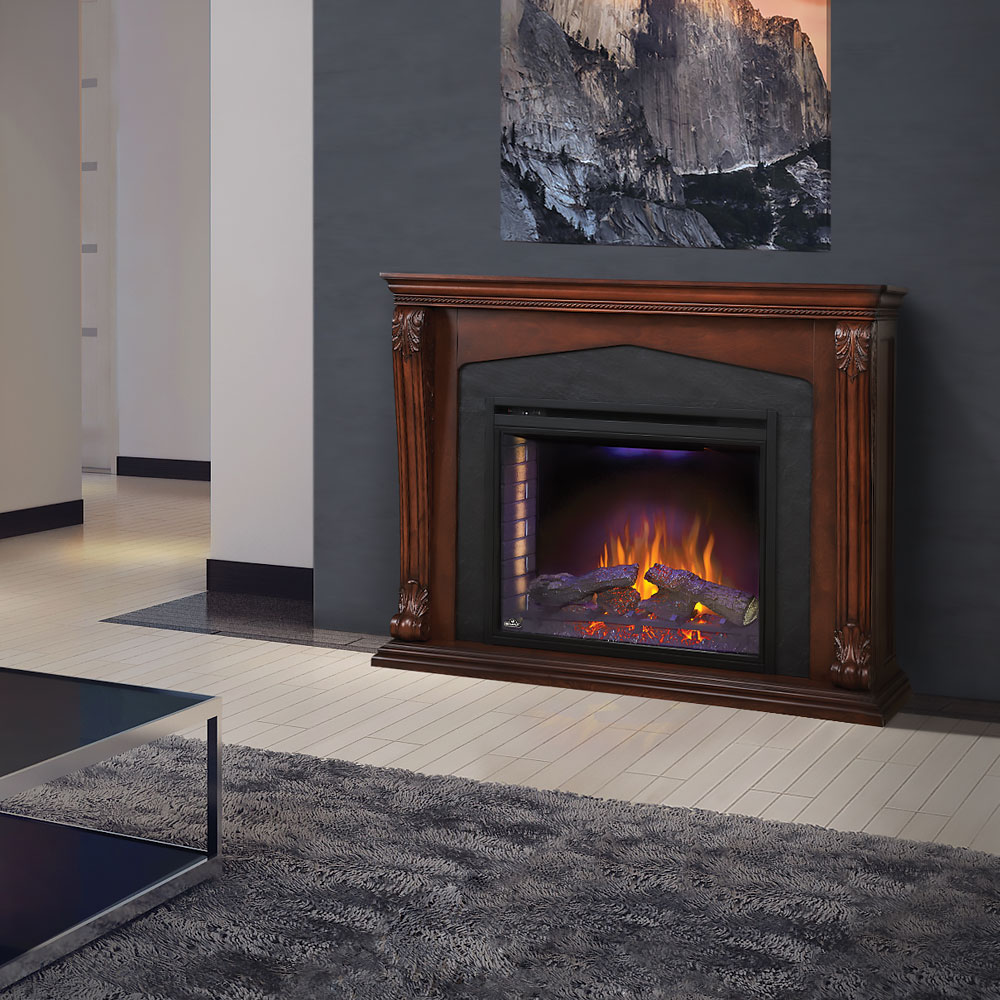 Monroe Electric Fireplace Mantel Package In Burnished Walnut Nefp33 0314bw