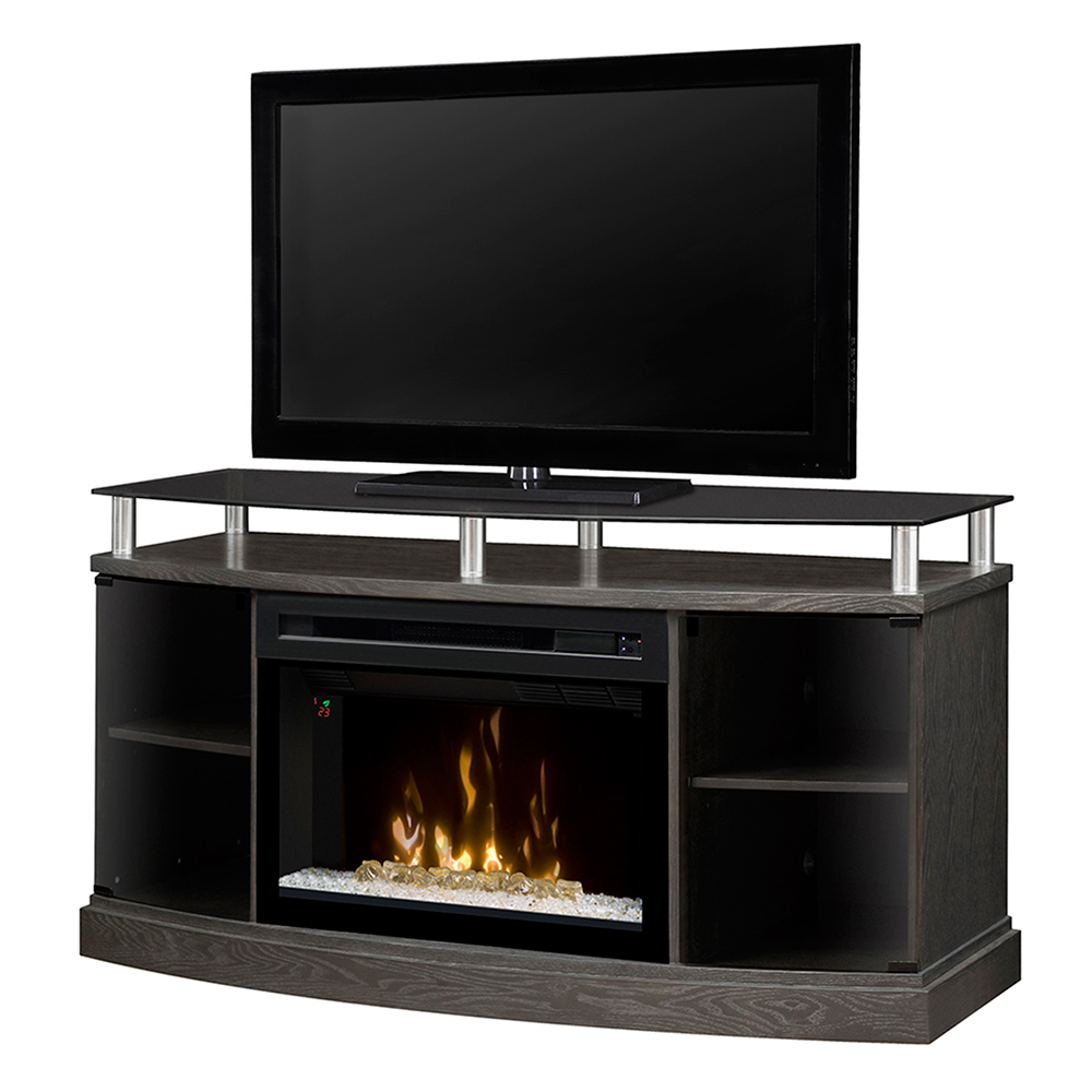 Windham Silver Charcoal Electric Fireplace Media Console Gds25cg 1015sc
