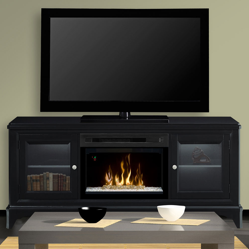 Winterstein black electric fireplace entertainment center w glass gds25gd 1413wb - Contemporary electric fireplaces entertainment center ...