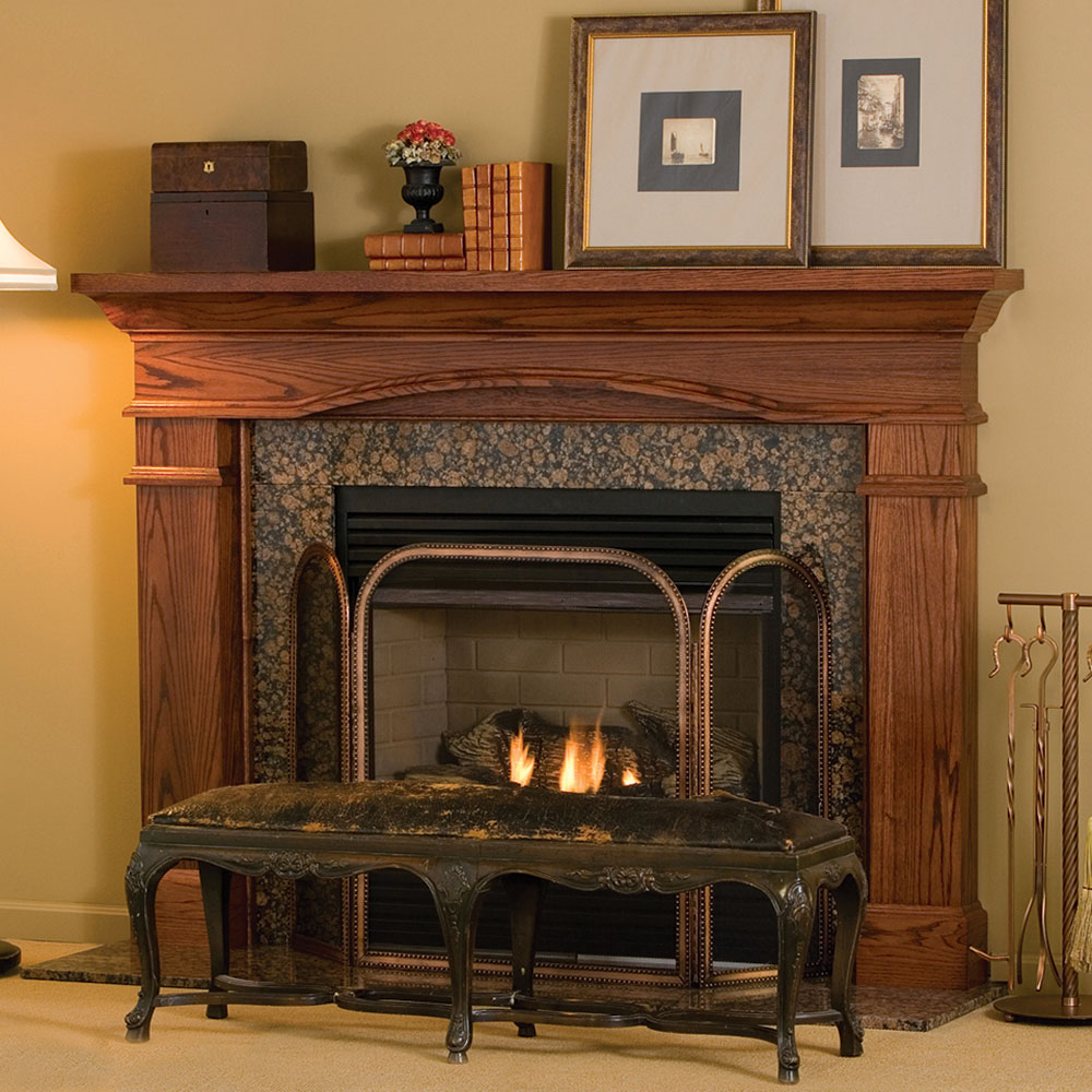 Hawthorne traditional wood fireplace mantel surrounds for Fireplace and mantel