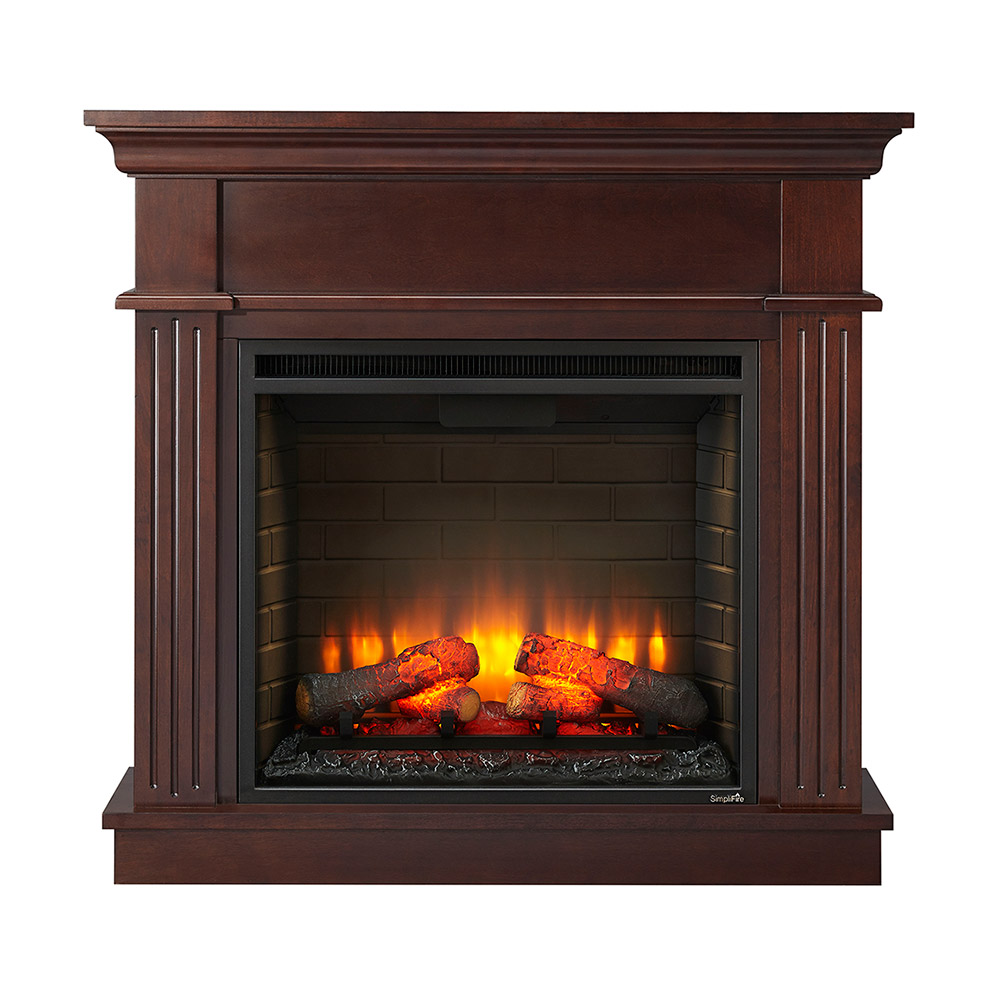 Crestwood Wall Or Corner Electric Fireplace Mantel Package In Walnut Crestwoodc23 Wa