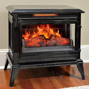 Comfort Smart Jackson Black Infrared Electric Fireplace Stove with Remote Control - CS-25IR-BLK