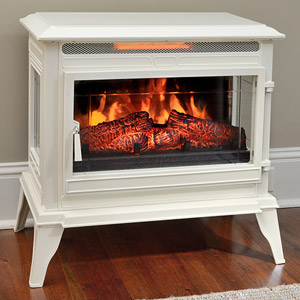 Comfort Smart Jackson Cream Infrared Electric Fireplace Stove with Remote Control - CS-25IR-CRM