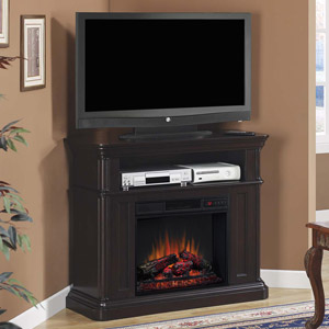 Oakfield Wall or Corner Electric Fireplace Media Console in Espresso - 23DE8202-E451