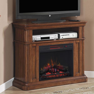 Oakfield Wall/Corner Infrared Electric Fireplace Media Center in Pecan Birch - 23DE8202-P273