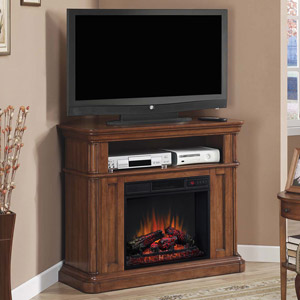 Oakfield Wall or Corner Electric Fireplace Media Console in Pecan Birch - 23DE8202-P273