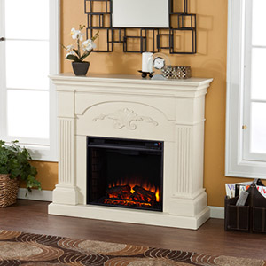 Sicilian Electric Fireplace Mantel Package in Ivory - FE9275