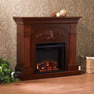 Sicilian Electric Fireplace Mantel Package in Mahogany - FE9277