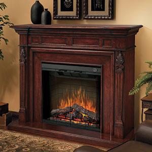Torchiere Burnished Walnut Electric Fireplace Mantel Package - SEP-BW-4217-FB