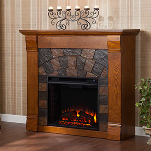 Elkmont Electric Fireplace Mantel Package in Antique Oak - FE9282