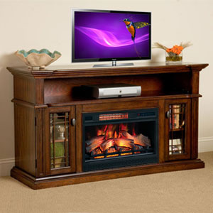 Wallace Infrared Electric Fireplace Entertainment Center in Empire Cherry - 26MM1264-EPC