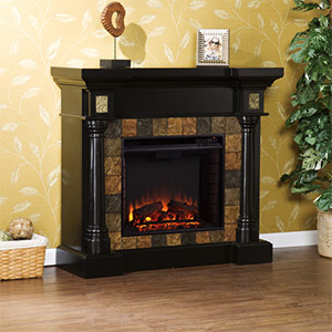 Carrington Wall or Corner Electric Fireplace Mantel Package in Black - FE8752
