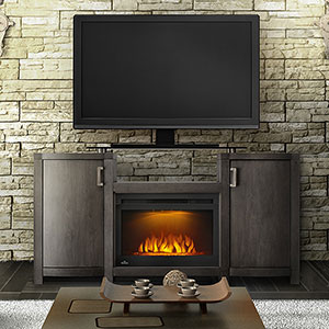 Whitney Electric Fireplace TV Stand in Grey Wash Finish - NEFP24-0516GRW
