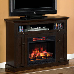 Windsor Wall or Corner Infrared Electric Fireplace Media Cabinet in Oak Espresso - 23DE9047-PE91